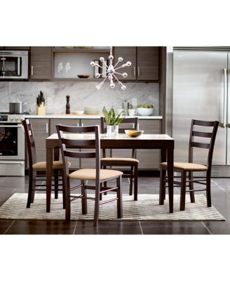 4 Chair Dining Sets café latte 5-piece dining set: glass top dining table and 4