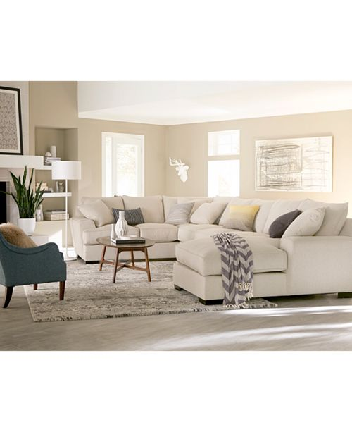 Furniture Ainsley 3-Piece Fabric Chaise Sectional Sofa with 6 Toss ...