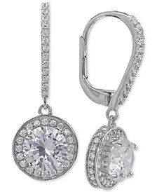 Giani Bernini Cubic Zirconia Halo Drop Earrings in Sterling Silver