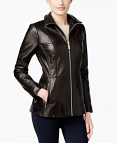 3280faa31f6 MICHAEL Michael Kors Leather Zip-Front Jacket, Created for Macy's
