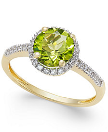 Peridot (1-1/3 ct. t.w.) and Diamond (1/8 ct. t.w.) Ring in 14k Gold