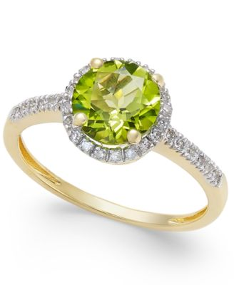 Peridot 1-1/3 ct. t.w. and Diamond 1/8 ct. t.w. Ring in 14k Gold