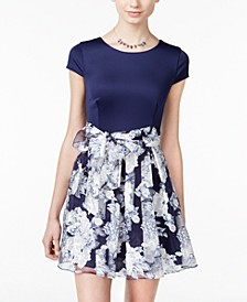 Juniors' Belted Floral-Print Fit & Flare Dress
