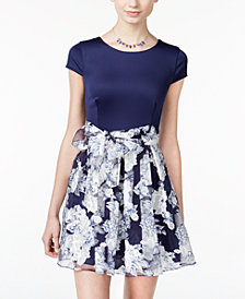 B Darlin Juniors' Belted Floral-Print Fit & Flare Dress
