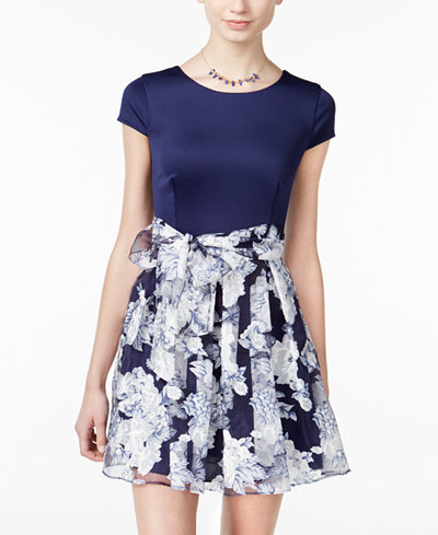 B Darlin Juniors' Belted Floral-Print Fit & Flare Dress
