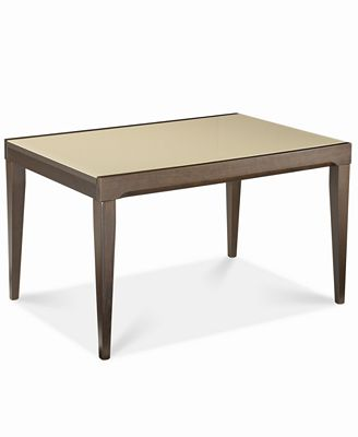 café latte glass top expandable dining table - furniture - macy's