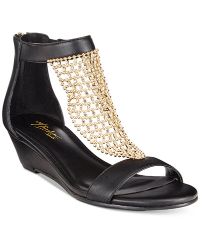 Thalia Sodi Tibby Gold-Mesh Embellished Wedge Sandals, Only at