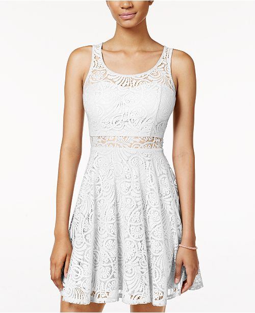 American Rag Juniors' Lace Illusion Skater Dress, Created for Macy's
