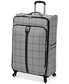 """London Fog Knightsbridge 29"""" Expandable Spinner Suitcase, Available in Brown and Grey Glen Plaid, Created for Macy's"""