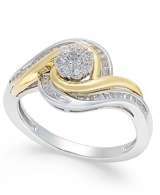 Fine Jewelry 1/3 CT. T.W. Diamond 10K Yellow Gold Swirl Ring