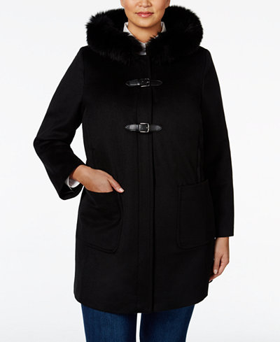 Forecaster Plus Size Fox-Fur-Trim Hooded Coat, Only at