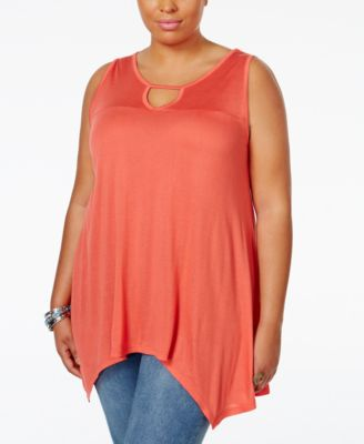 American Rag Trendy Plus Size Sleeveless Handkerchief-Hem Top, Only at Macy's