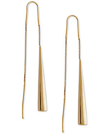 Italian Gold Polished Elongated Triangle Threader Earrings in 14k Gold