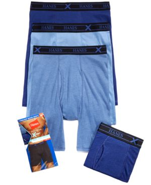 HANES Men'S X-Temp Long Boxer Briefs 4-Pack in Assorted Blue