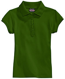 Nautica School Uniform Ruffle-Placket Polo, Big Girls Plus