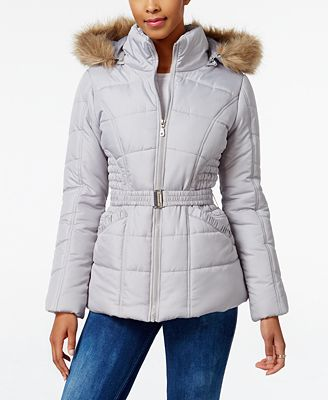 Rampage Faux-Fur-Trim Hooded Belted Puffer Coat, Created for Macy's