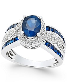 Sapphire (2-3/4 ct. t.w.) and Diamond (1/3 ct. t.w.) Ring in 14k White Gold