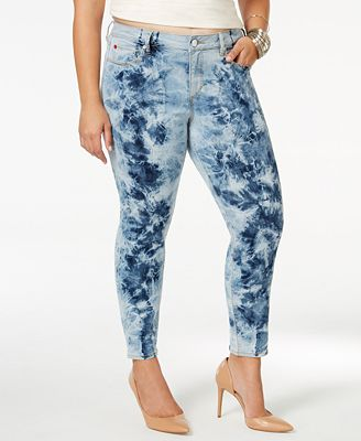 SLINK Jeans Plus Size Tie-Dyed Ankle Jeggings - Jeans - Plus Sizes ...