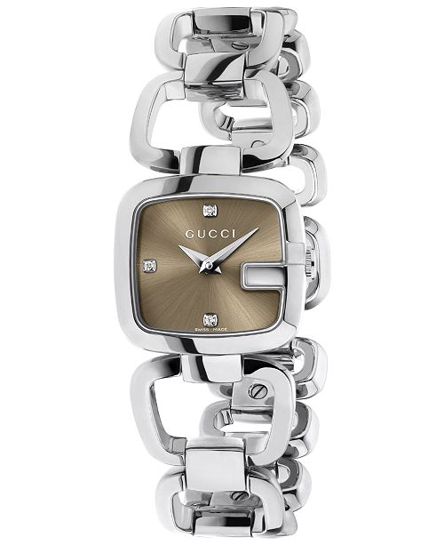 a38fcc2ab32 Gucci Women s Swiss G-Gucci Diamond Accent Stainless Steel Link Bracelet  Watch 24x23mm YA125503 ...
