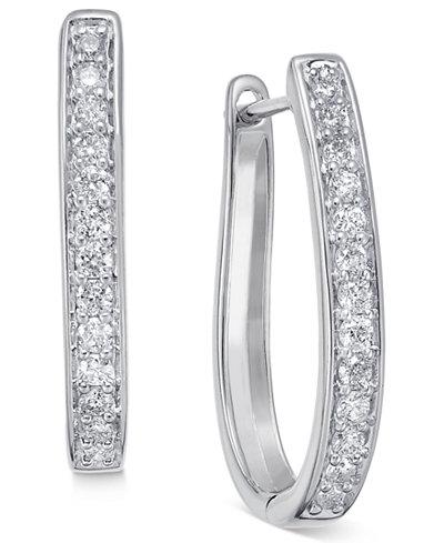 Diamond Oval Hoop Earrings (3/8 ct. t.w.) in 14k White or Yellow Gold