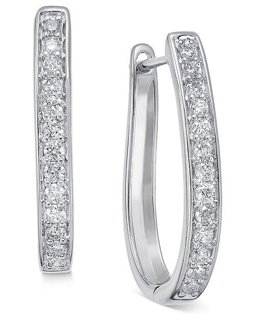 Macy's Diamond Oval Hoop Earrings (3/8 ct. t.w.) in 14k White or Yellow Gold