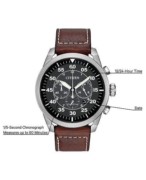 00f4f101c ... Citizen Men's Chronograph Eco-Drive Brown Leather Strap Watch 45mm  CA4210- ...