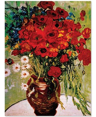 'Daisies and Poppies' by Vincent van Gogh Canvas Print