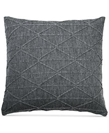 "DKNY City Pleat Gray 18"" x 18"" Decorative Pillow"