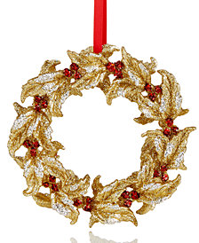 Holiday Lane Gold Sparkle Wreath Ornament, Created for Macy's