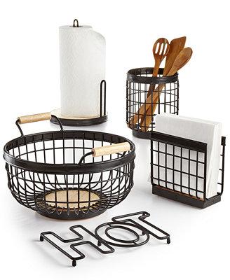 martha stewart collection wire kitchen accessories only martha stewart collection set of 3 basket weave taupe