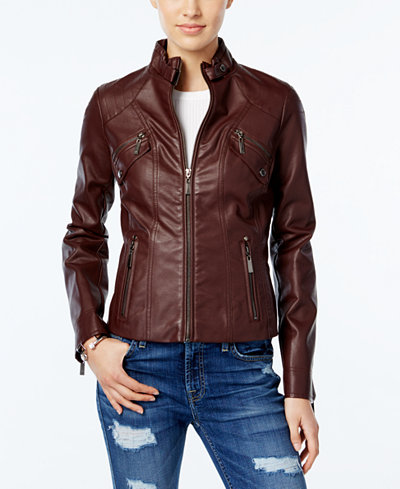 Jou Jou Juniors' Faux-Leather Moto Jacket - Coats - Women - Macy's