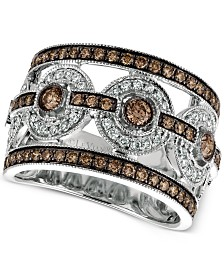 Le Vian Chocolatier® Chocolate Deco Estate™ Diamond Ring (1-1/4 ct. t.w.) in 14k White Gold