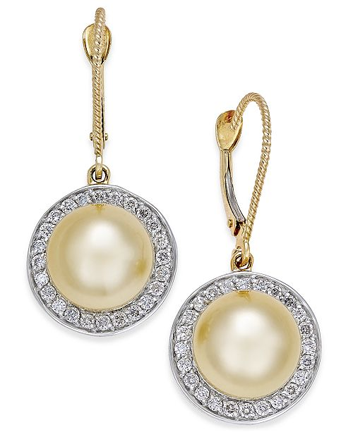 Macy's Cultured Golden South Sea Pearl (9mm) and Diamond (1/2 ct. t.w.) Drop Earrings in 14k Gold