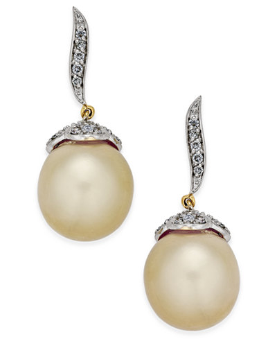 Cultured Oval Golden South Sea Pearl (11mm) and Diamond (3/8 ct. t.w.) Drop Earrings in 14k Gold