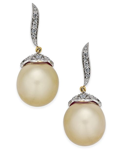 Macy's Cultured Oval Golden South Sea Pearl (11mm) and Diamond (3/8 ct. t.w.) Drop Earrings in 14k Gold