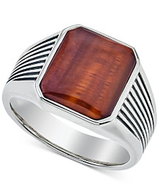 Esquire Men's Jewelry Red Tiger's Eye (14 x 12mm) Ring in Sterling Silver, Created for Macy's