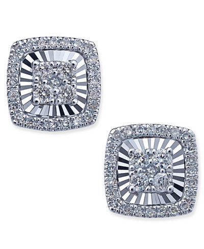 Diamond Square-Style Miracle Plate Stud Earrings (1/4 ct. t.w.) in 14k White Gold