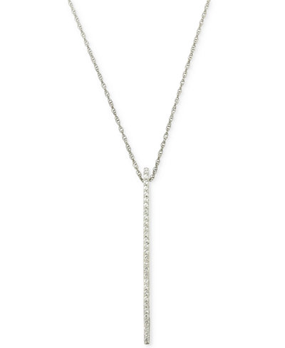 Wrapped in Love Diamond Linear Pendant Necklace (1/6 ct. t.w.) in 10k White Gold, Created for Macy's