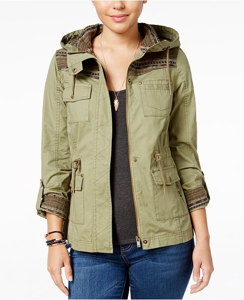 American Rag Knit-Trim Hooded Utility Jacket, Created for Macy's
