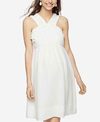 A Pea In The Pod Maternity Embellished Silk Dress