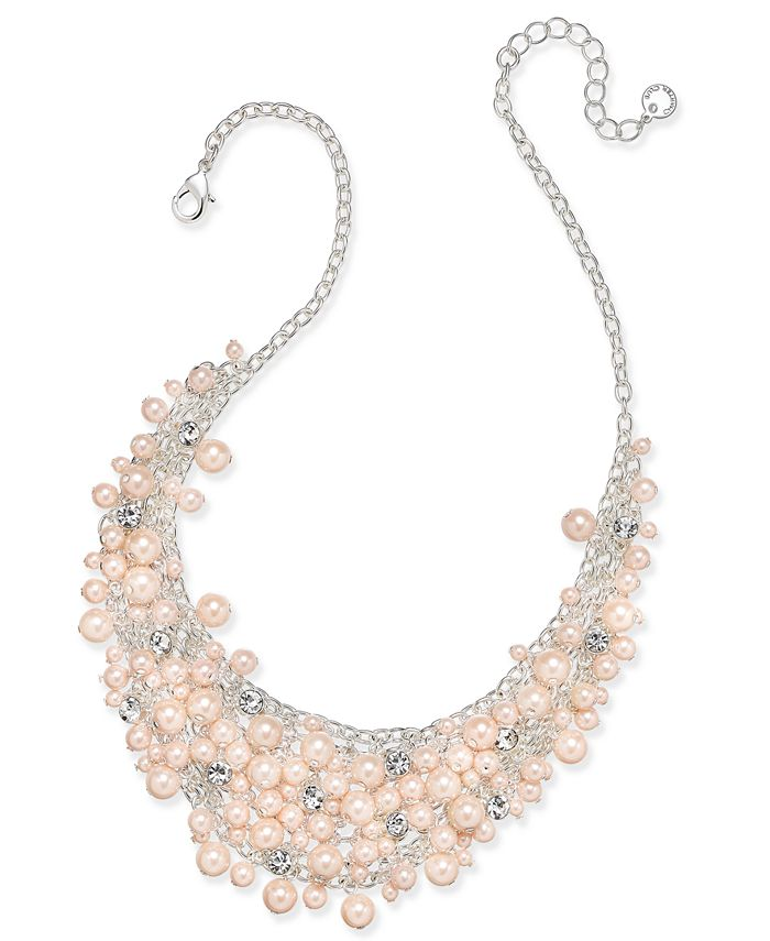 Charter Club - Silver-Tone Glass Pearl Cluster Bib Necklace