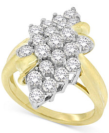 Diamond Leaf Cluster Ring (2 ct. t.w.) in 14k Gold