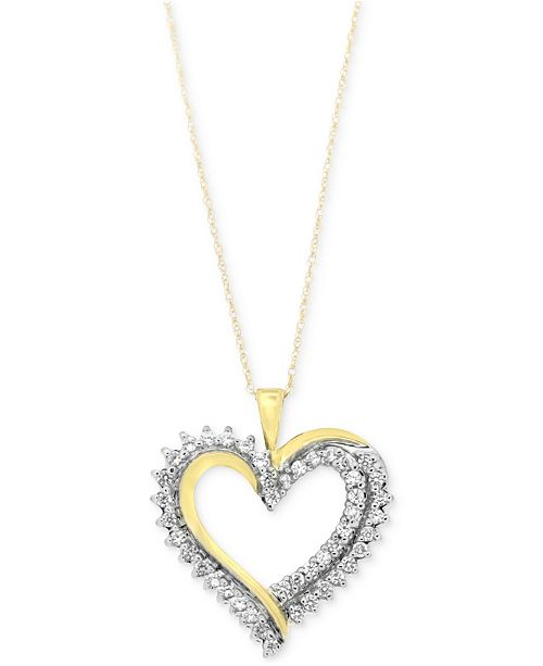 Macys diamond heart pendant necklace 12 ct tw in 10k gold or main image aloadofball Image collections