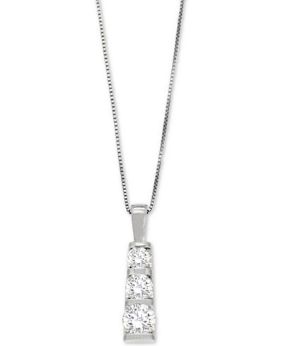 Diamond Three-Stone Linear Pendant Necklace (3/4 ct. t.w