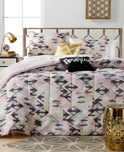 Closeout Aubree Diamond 5 Piece Comforter Sets Bed In A