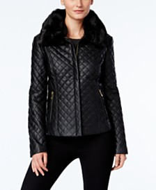 I.N.C. Quilted Faux-Leather Jacket, Created for Macy's