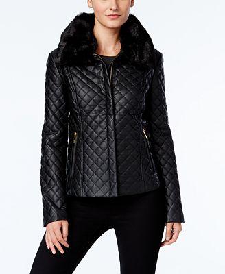 INC International Concepts Faux-Fur-Trim Faux-Leather Quilted ...
