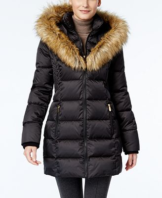 INC International Concepts Faux-Fur-Trim Puffer Coat Only at