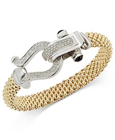 Diamond Horseshoe Clasp Mesh Bracelet (5/8 ct. t.w.) in 14k Gold-Plated Sterling Silver (Also available in Sterling Silver)