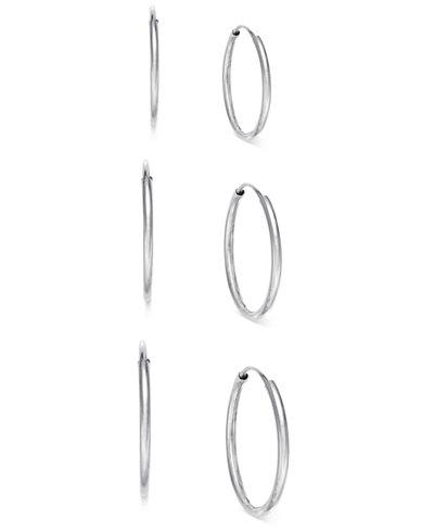 3-Pc. Set Endless Hoop Earrings in 10k White Gold